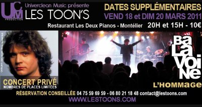 LES TOON'S  CONCERT HOMMAGE À DANIEL BALAVOINE LE 18 ET 20 MARS 2011 À MONTELIER