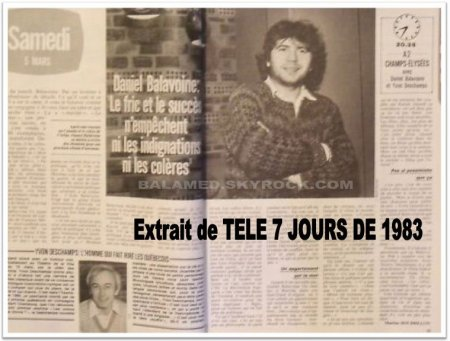 """""""Le Fric et le Succès n'empêchent pas les indignations, ni les colères"""" (Daniel Balavoine)"""