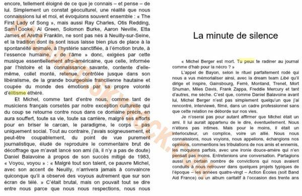 """Extrait du Livre """"Quelque chose en nous de Michel Berger""""  Par Yves Bigot"""