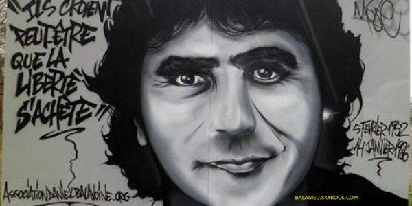 Un graffiti en hommage à Daniel Balavoine réalisé par l'artiste palois Moze