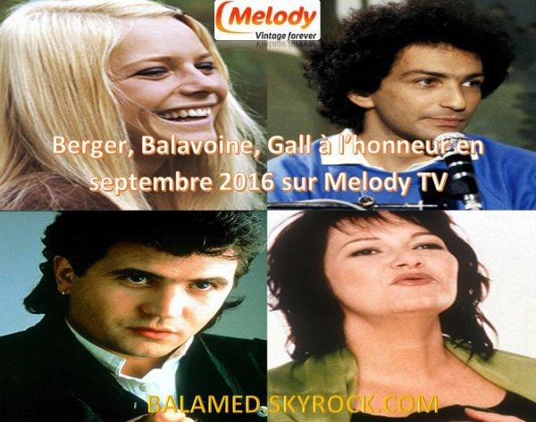M. Berger, Balavoine et France Gall en Septembre sur Télé Melody