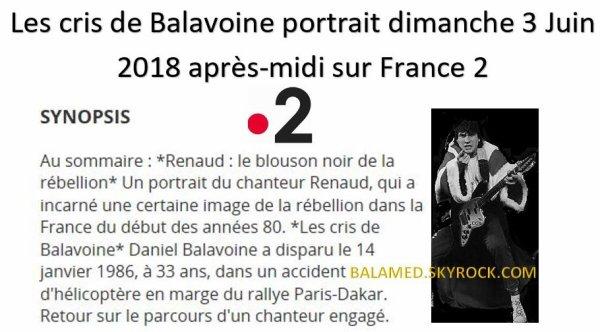 Les cris de Balavoine portrait dimanche 3 Juin 2018 après-midi sur France 2