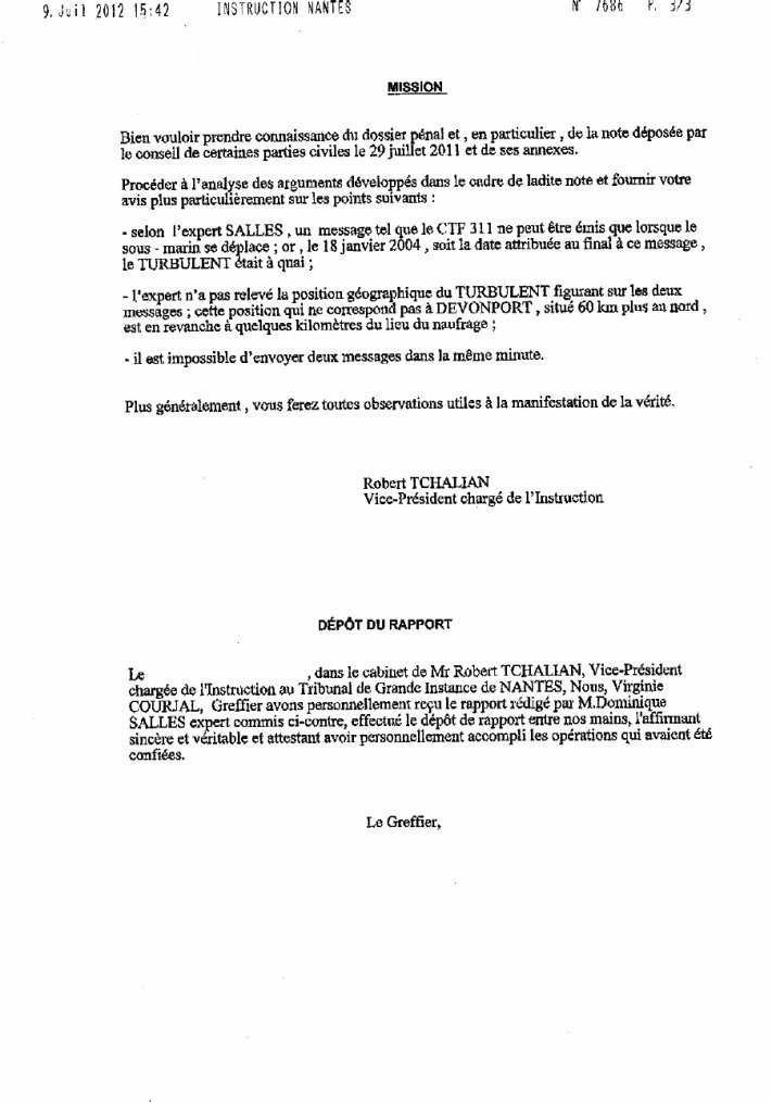 bugaled breizh nouvelle ordonnance  commandé par le  juge d'instruction