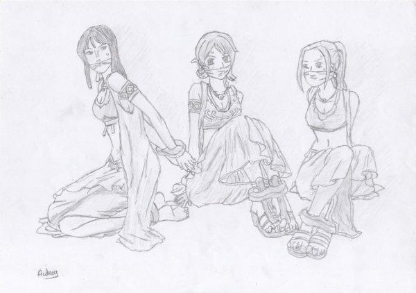 Dessin : Nami, Robin & Vivi. ( Pour Monkeydluffy02 )