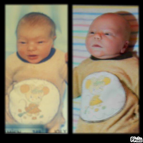a gauche mon fils y a 28 ans , a droite le fils de mon fils y 5 jours  avec le pyjama de son papa
