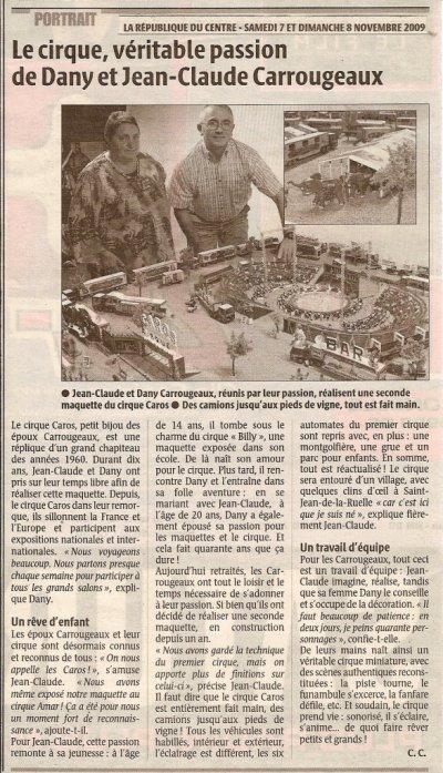 ARTICLE du JOURNAL : LA REPUBLIQUEdu CENTRE de ce Matin.....07 11 2009