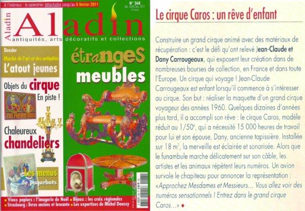 REPORTAGE ''CAROS'' DANS LA REVUE DES ANTIQUAIRES DE CE MOIS-CI...