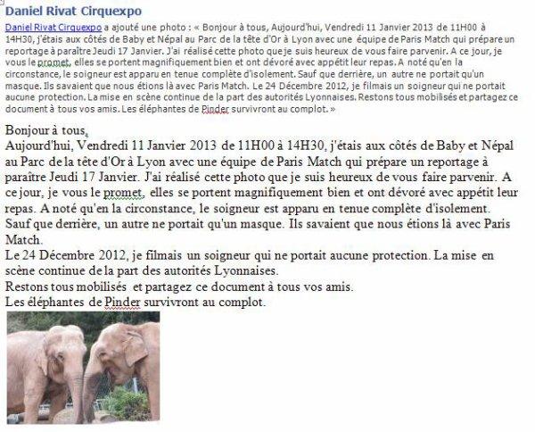 VISITE CE MATIN DE MON AMI DANIEL RIVAT (CIRQUEXPO) AU PARC DE LA TETE D'OR A LYON AVEC UNE EQUIPE DE PARIS MATCH POUR FAIRE UN REPOTAGE  SUR ''BABY ET NEPAL''....