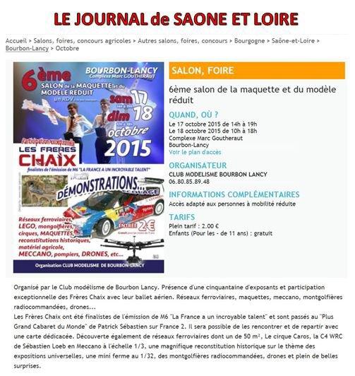 3000 ENTREES AU SALON DE BOURBON-LANCY (71) LE PLUS IMPORTANT DE BOURGOGNE DU SUD AVEC LES FRERES CHAIX APRES LEUR PASSAGE AU ''PLUS GRAND CABARET'' DE PATRICK SEBASTIEN.....