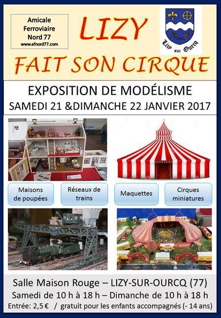 Nous commençons la Saison par une Exposition avec le Monde du Cirque, à LIZY sur OURCQ,(77) (Près de MEAUX) dans un endroit Mythique des Familles Zavatta , Bouglione...etc ,du 20-21-22 Janvier 2017, ainsi que de Belles Expositions à venir.......