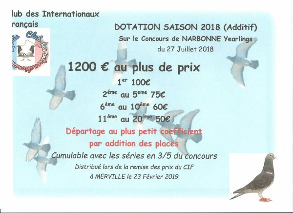 Additif dotation CIF (Narbonne Yearlings)