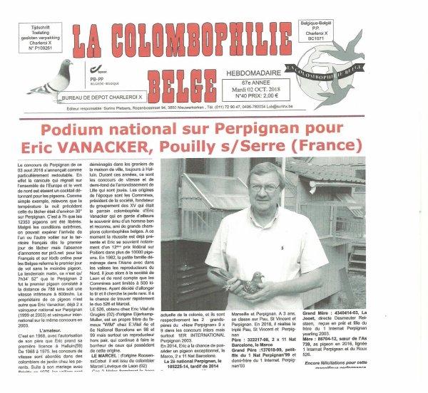 """REPORTAGE SYMPA SUR LE JOURNAL"""" LA COLOMBOPHILIE BELGE"""""""