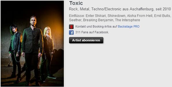 # 16 - 28 septembre 2012. News.   Toxic inscrit sur un site Allemand.