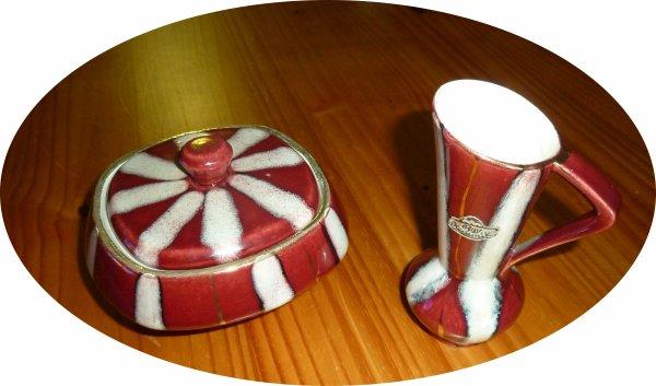 superbe bonbonnière et cruche assortie en porcelaine de Bavière.
