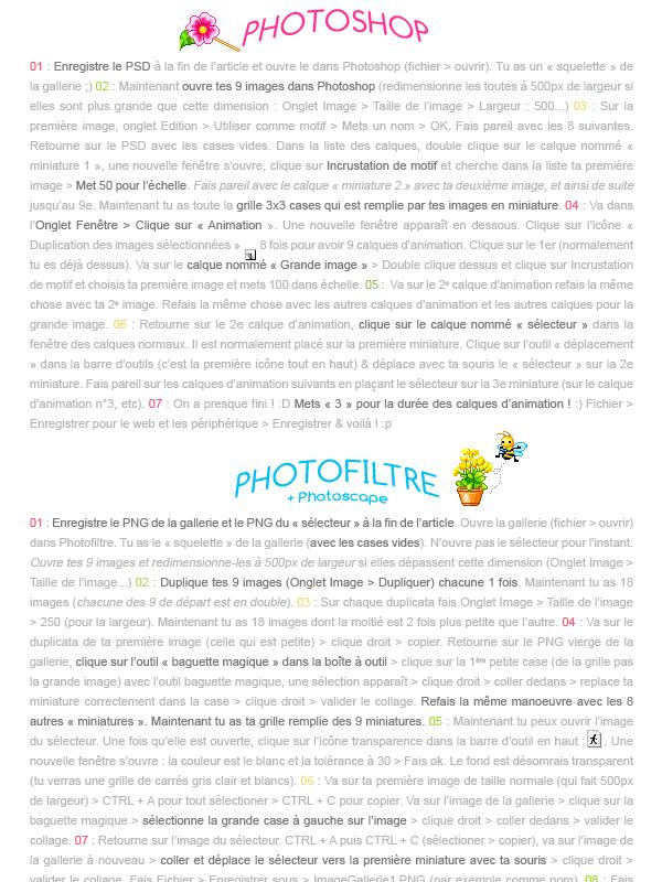 - --Galerie d'images animées-- Niveau : Apprenti & Utilisateur confirmé | Temps : 5 - 10 minutes | Logiciels : Photoshop ou Photofiltre & Photoscape -