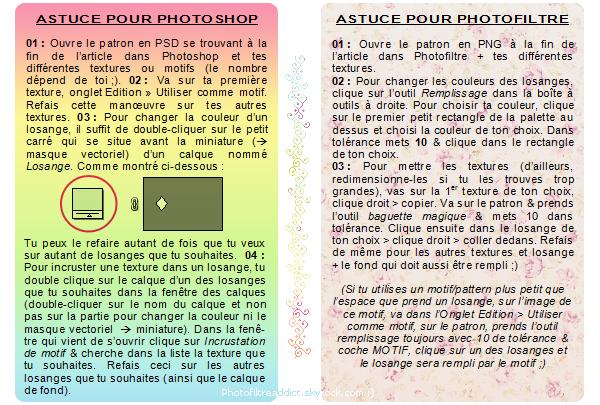 - --Style de texture n°2 : Texture à losanges-- Logiciels : Photofiltre & Photoshop | Niveau : Débutant/Apprenti | Temps : +/- 10-15 minutes -