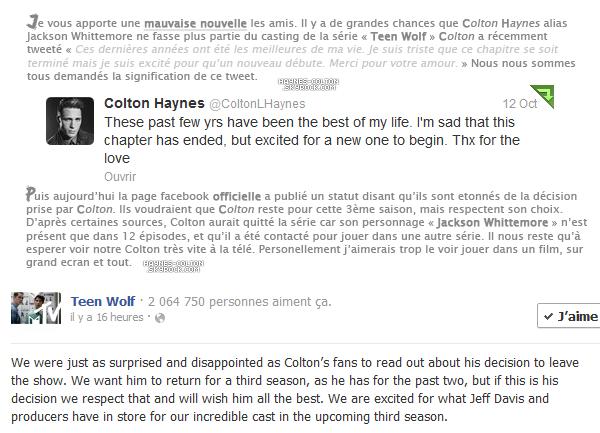 • La saison 3 de Teen Wolf sans Colton ?