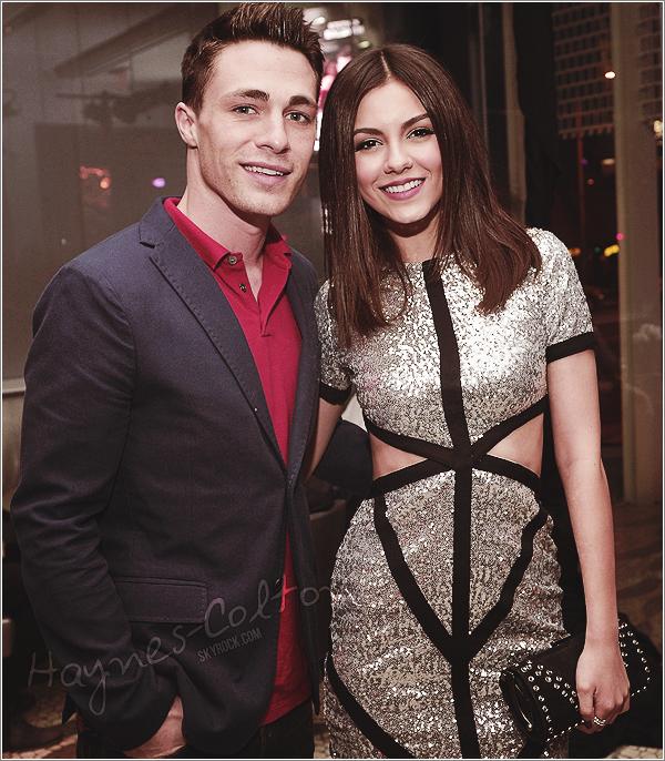 • 02 Mars. Colton a été photographié allant à la fête d'anniversaire de Victoria Justice.      Il a aussi publié une photo d'eux deux, sur instagram.