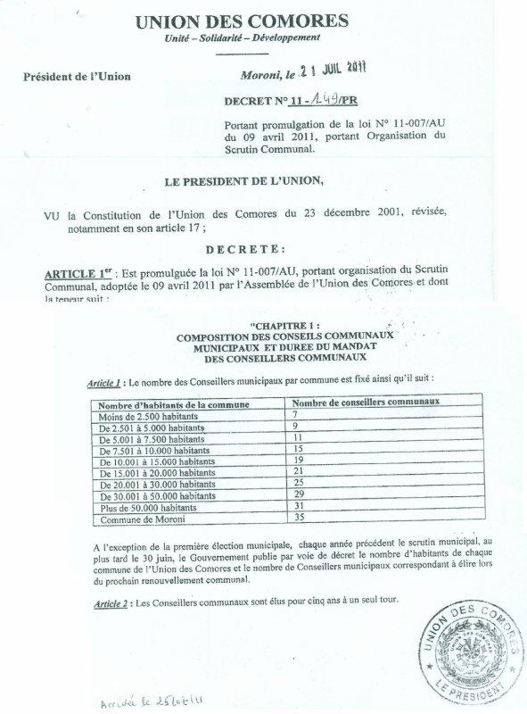 DECRET N°11 -149/PR PORTANT PROMULGATION DE LA  LOI N°11-007/AU du 09 AVRIL 2011