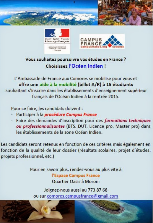 Vous souhaitez poursuivre vos études en France ? Choisissez l'Ocean Indien !