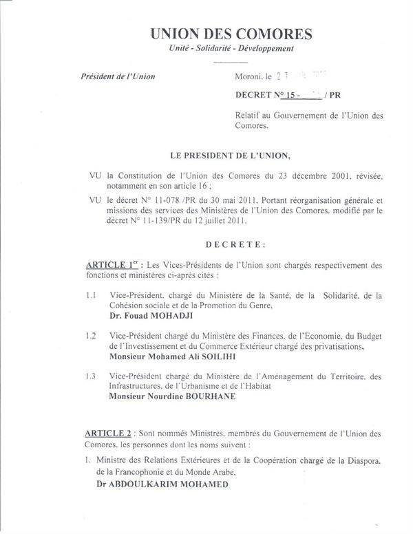 Liste des Membres du nouveau gouvernement de l'Union