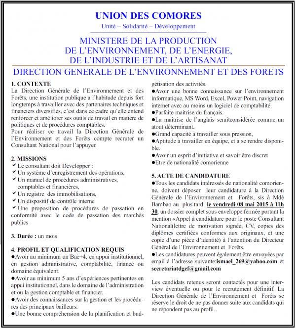 DIRECTION GENERALE DE L'ENVIRONNEMENT ET DES FORETS