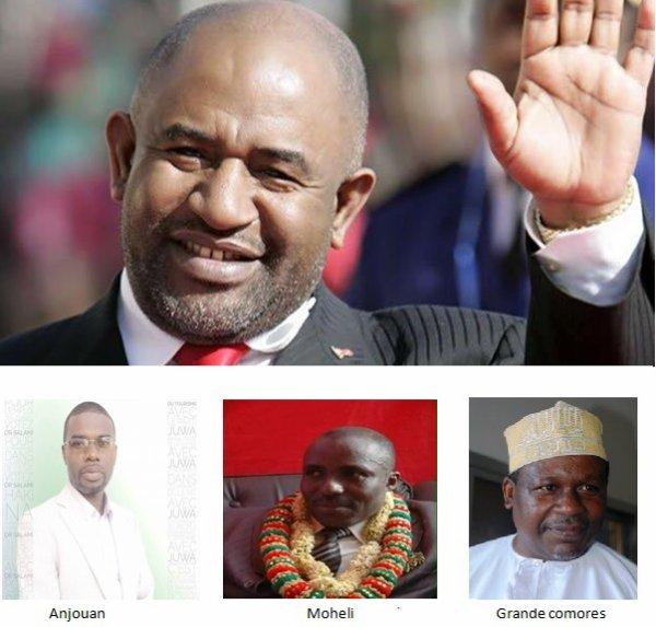 La nouvelle équipe 2016-2021 : Azali président, Hassani Hamadi, Salami Abdou et Mohamed Said Fazul gouverneurs