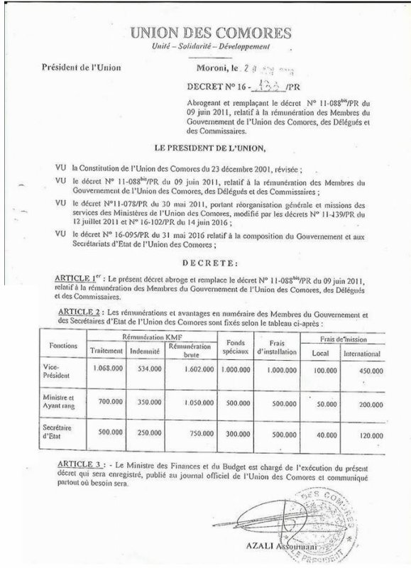 la rémunération des Membres du gouvernement de l'Union des Comores,