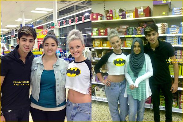 28 Août ▬ Zerrie a posé avec deux fans dans un magasin Tesco.
