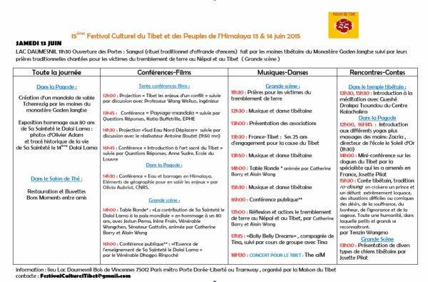 15ème festival Culturel du Tibet et des peuples de l'Himalaya 13 et 14 juin 2015