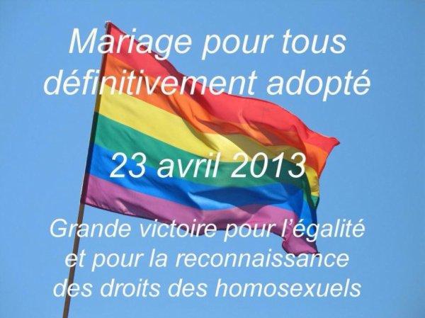 23 AVRIL 2013 - LE MARIAGE POUR TOUS EN FRANCE - C EST OUI