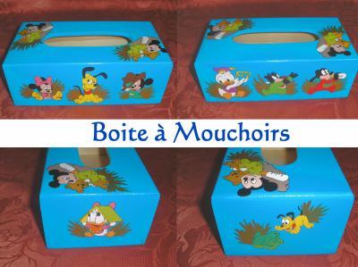 boite a mouchoir mickey et ses amis b b decoration sur bois a la peinture. Black Bedroom Furniture Sets. Home Design Ideas