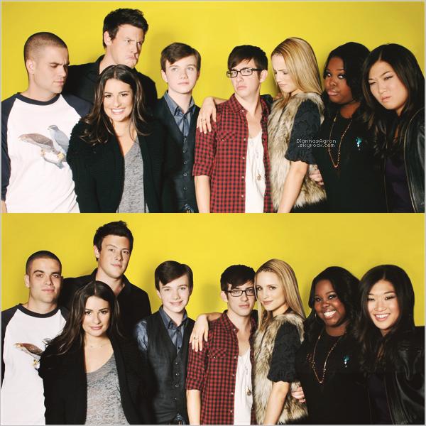 Di', accompagnée du cast de Glee ( Cory Monteith, Lea Michele, Chris Colfer, Mark Salling ect...),afait un photoshoot, sous un fond très jaune poussin, en 2009.