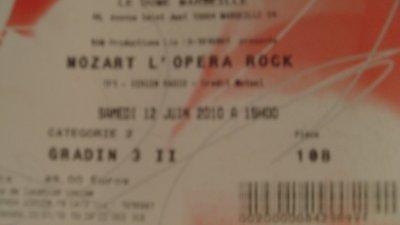 Billet pour le spectacle de mozart l'opera rock