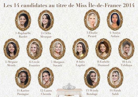 Candidates Miss Île-de-France 2014