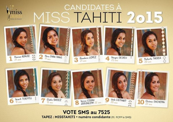 Candidates Miss Tahiti 2015