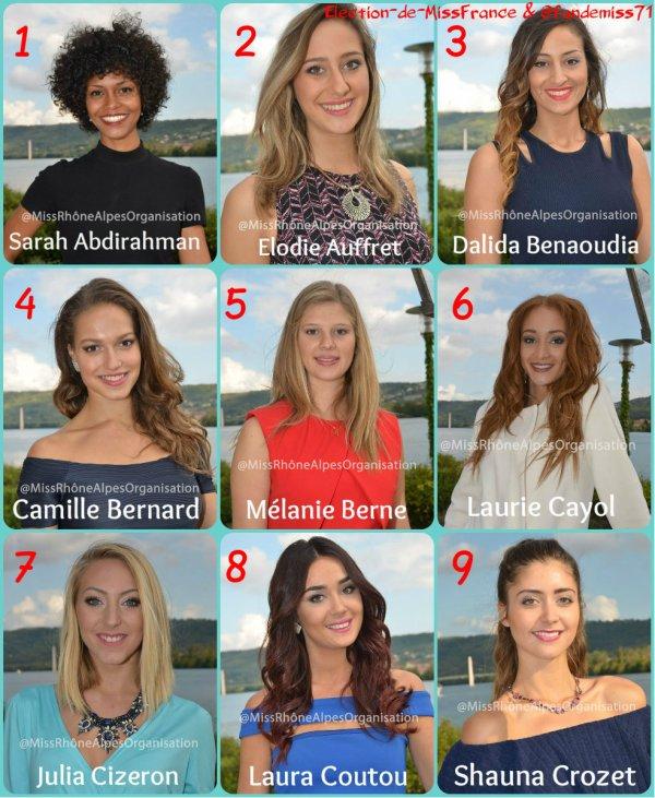 Candidates Miss Rhône-Alpes 2016