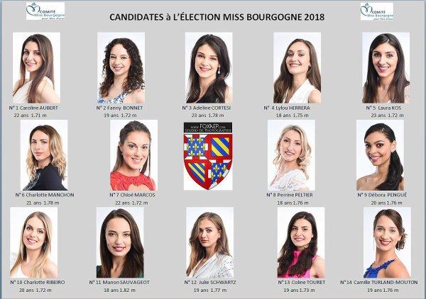 Candidates Miss Bourgogne 2018