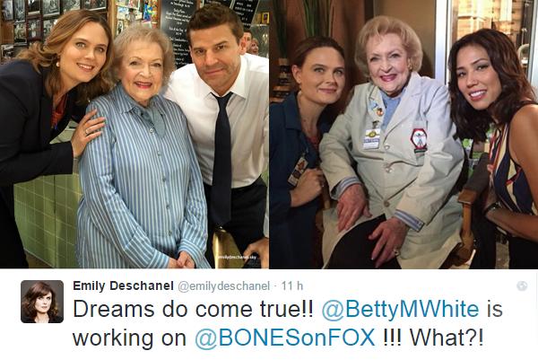 Emily et David avec Betty White  (guest star dans un épisode de Bones)