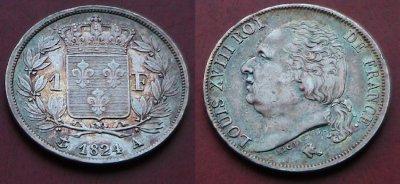 1 franc Louis XVIII 1824 A