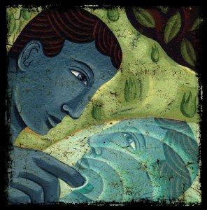 Narcisse hypnotisé par son image dans la source.