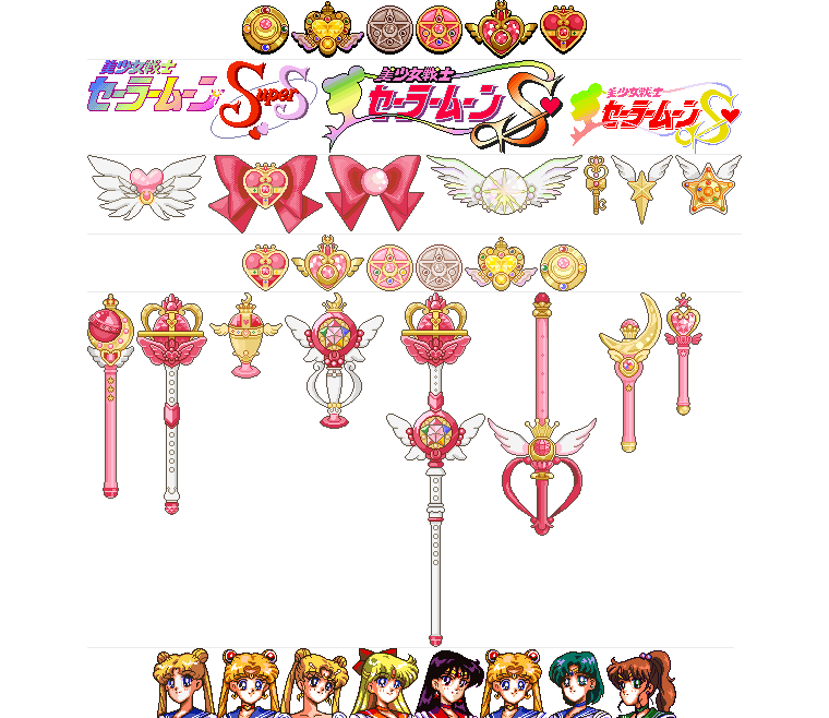 Sailor Moon's en Pixel art.