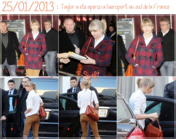 24/01/2013 : Taylor était à Madrid aux 2013 40 Principales Awards où elle y a performée aussi.  25/01/2013 : Taylor a été aperçu à l'aéroport au sud de la France.  26/01/2013 : Taylor était aux NRJ Music Awards pour la 1ère fois à Cannes où elle a remis un prix et chanté We Are Never Ever Getting Back Together.