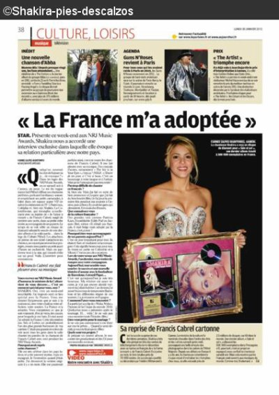 """Shakira dans le journal """" Le Parisien """""""