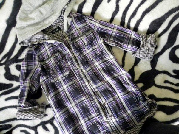 Chemise à carreaux grise/violette