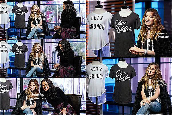 * 20/01/16 : Ashley Tisdale était présente sur le plateau de l'émission « Extra » - qui se déroule à Los Angeles. Ashley T. était présente dans  l'émission pour la promotion de sa collection en partenariat avec Signorelli. Ashley est très jolie et j'aime trop sa tenue  *