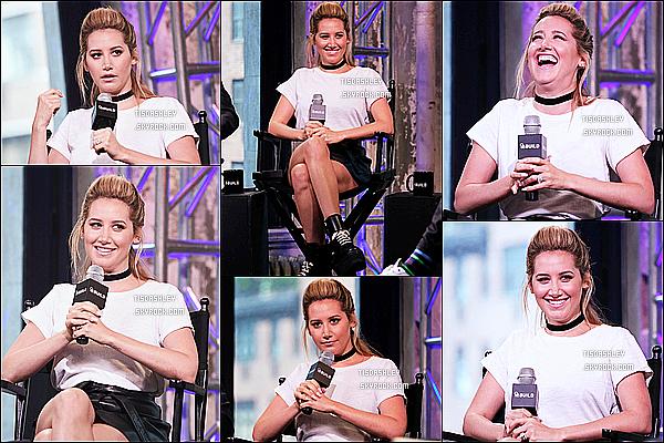 * 27/07/16 : Ashley Tisdale était présente sur le plateau de l'émission « AOL Build » - toujours dans New York. C'était une grosse journée pour Ashley, interview sur interview. Mais la belle va enfin pouvoir se reposer un peu. Elle porte la même tenue, un Top  *