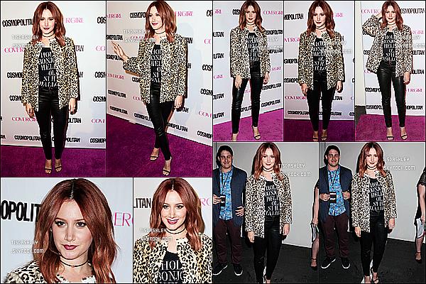 * 12/10/15 : Ashley Tisdale a célébré le 50ème anniversaire du magazine « Cosmopolitan » à West Hollywood. Ashley est vraiment ravissante. J'aime beaucoup la tenue qu'elle porte, ainsi que sa veste léopard qui s'assort bien avec la tenue. Un Top pour moi.  *