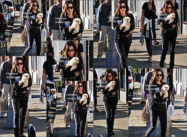 * 19/12/17 :    Ashley T. a été aperçue quand elle se rendait au magasin « Kelley Baker Explore » situé à Venice Beach. Ashley est toute mignonne avec sa chienne dans les bras. J'aime bien la tenue qu'elle porte même si elle est simple et assez sombre. Je lui mets un Top.  *