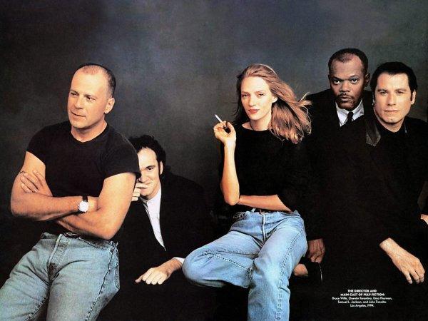 Bruce Willis, Quentin Tarantino, Uma Thurman, Samuel L. Jackson et John Travolta
